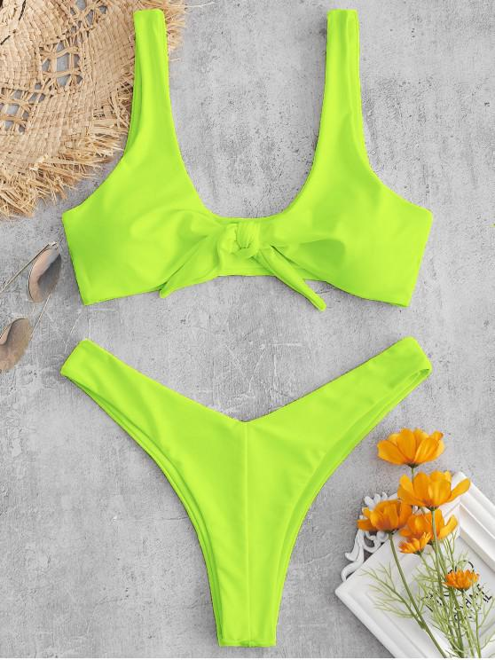 outfit ZAFUL Tie Front High Leg Tank Bikini Swimsuit - GREEN YELLOW M