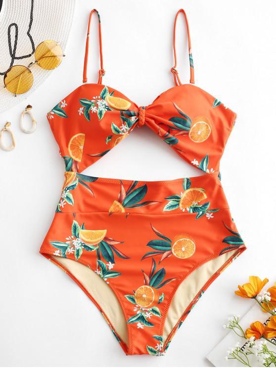 buy ZAFUL Orange Print Knot Cut Out Swimsuit - HALLOWEEN ORANGE L