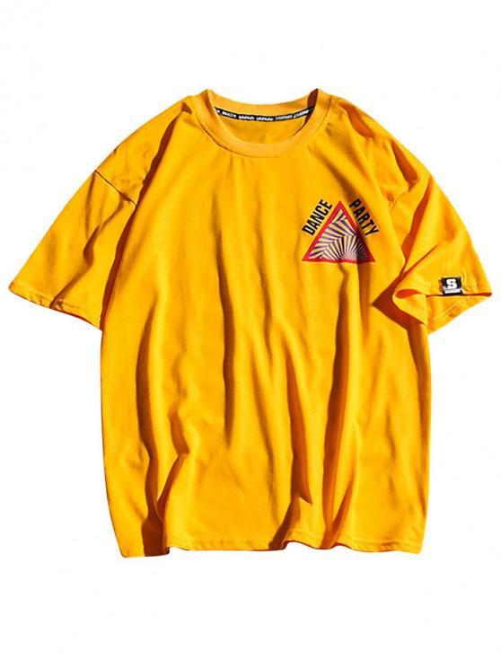 fashion Letters Striped Geometric Print Casual T-shirt - BRIGHT YELLOW 2XL