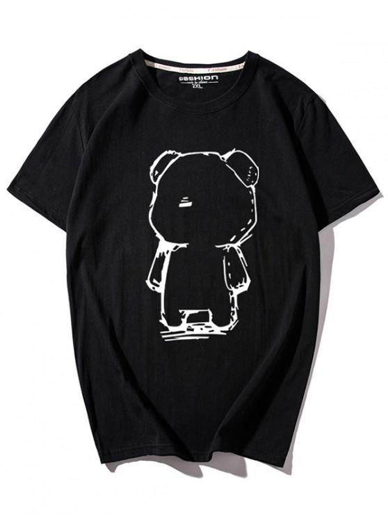 T-shirt col rond imprimé ours de dessin animé - Noir XL