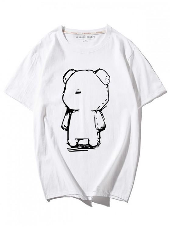 Cartoon-Bärendruck-Rundhals-T-Shirt - Weiß L