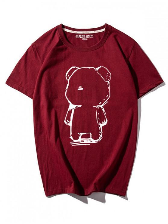 chic Cartoon Bear Print Round Neck T-shirt - RED 3XL
