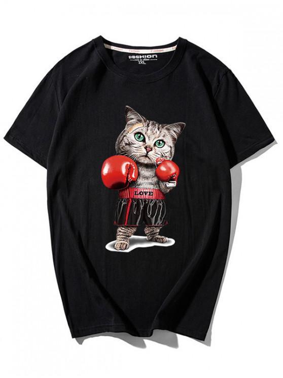 T-shirt stampata Cat Pugilist - Nero L