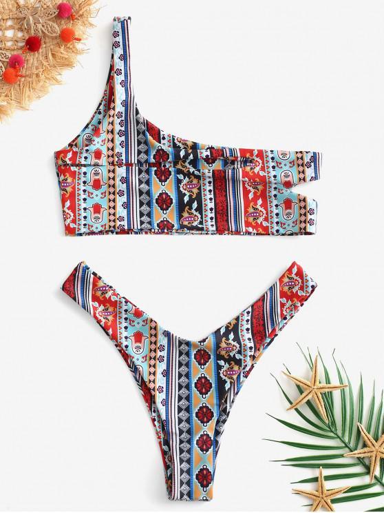 hot ZAFUL Floral Cut Out One Shoulder Bikini Set - MULTI-A S