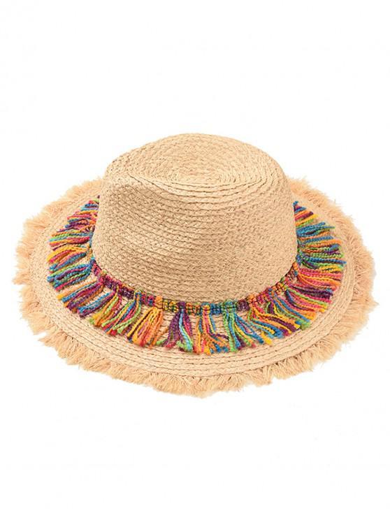 chic Adjustable Tassel Straw Panama Hat - KHAKI
