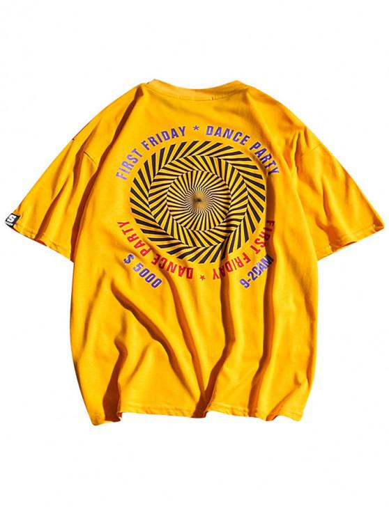 latest Letters Striped Geometric Print Casual T-shirt - BRIGHT YELLOW L