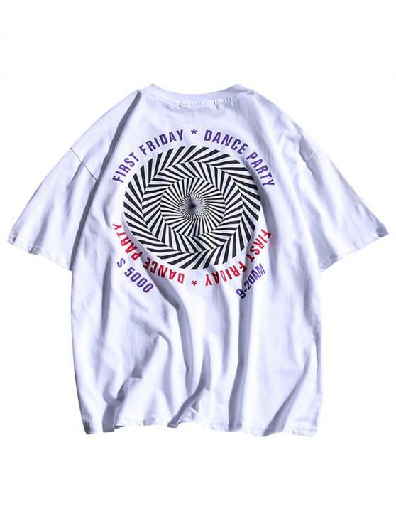 Buchstaben gestreiftes geometrisches Druck-beiläufiges T-Shirt - Weiß M