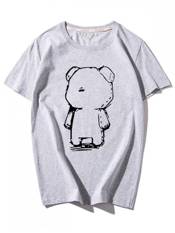 women's Cartoon Bear Print Round Neck T-shirt - GRAY M
