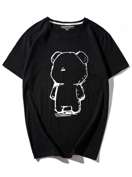 Camiseta con cuello redondo y estampado de oso de dibujos animados - Negro 2XL