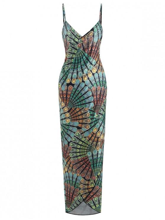 unique Printed Wrap Dress - MULTI-A ONE SIZE