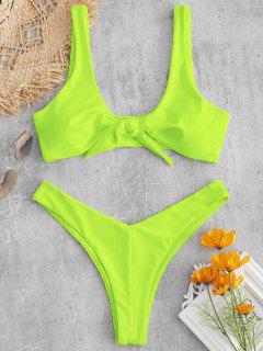 Bunny Tie Front Neon Bikini Top And Bottoms Set - Green Yellow M