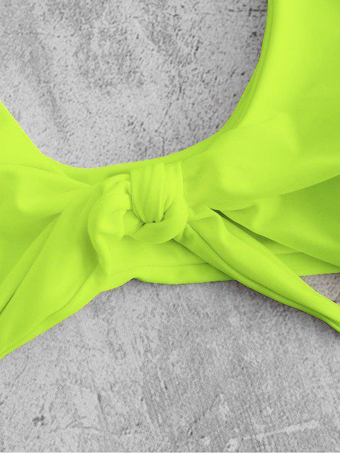ZAFUL Бант впереди Высокие ноги Бикини Купальник - Желто-зеленый M Mobile