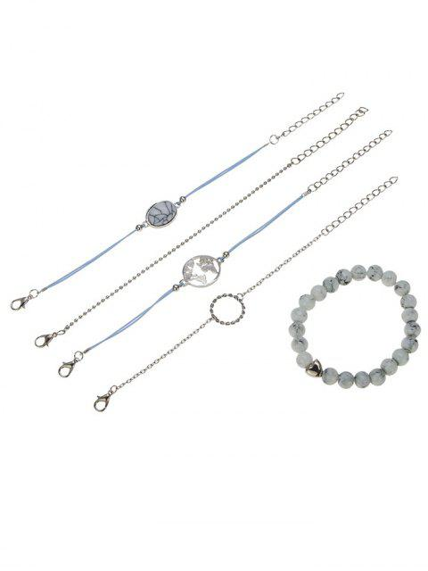 fancy Faux Stone Circle Bracelets Set - SILVER  Mobile