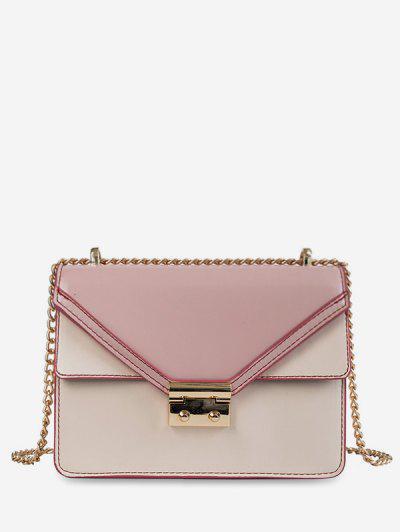 Cover Chain PU Crossbody Bag - Pink ...