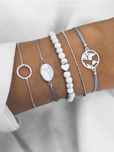 Faux Stone Circle Bracelets Set - Silver