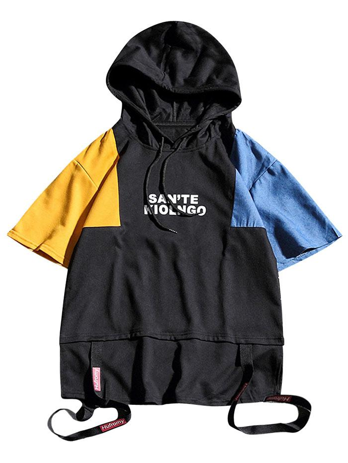 Short Sleeves Letters Print Panel Hooded T Shirt