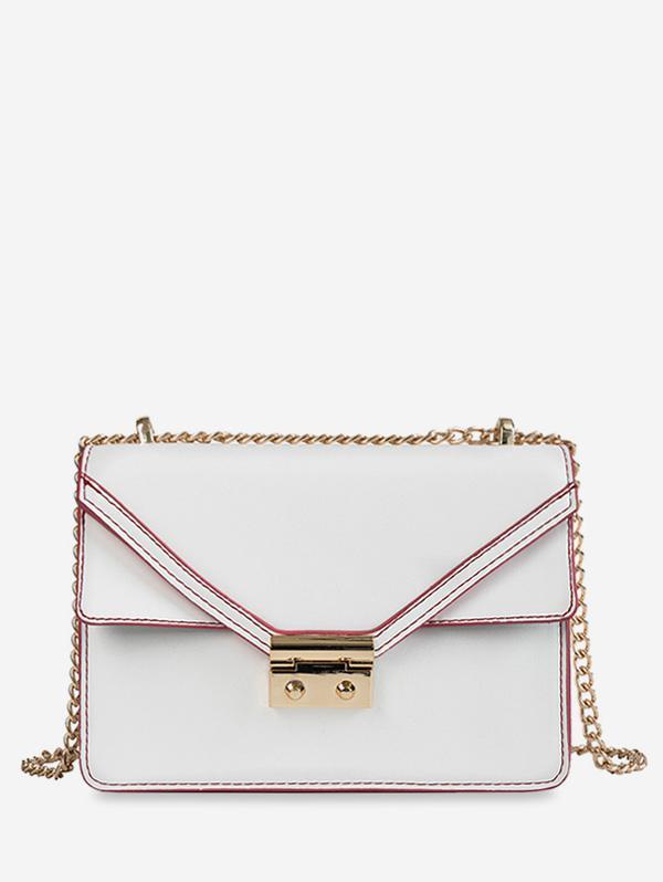 Cover Chain PU Crossbody Bag, White