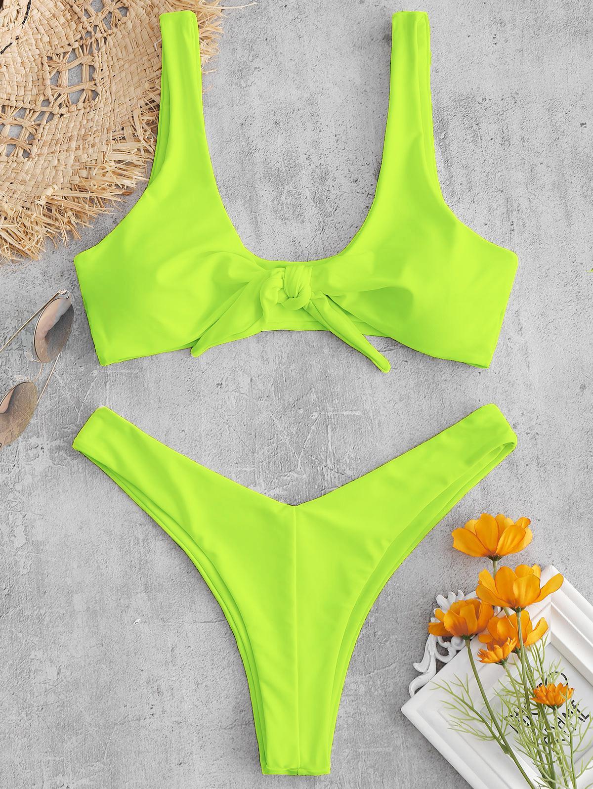ZAFUL Tie Front High Leg Tank Bikini Swimsuit, Green yellow