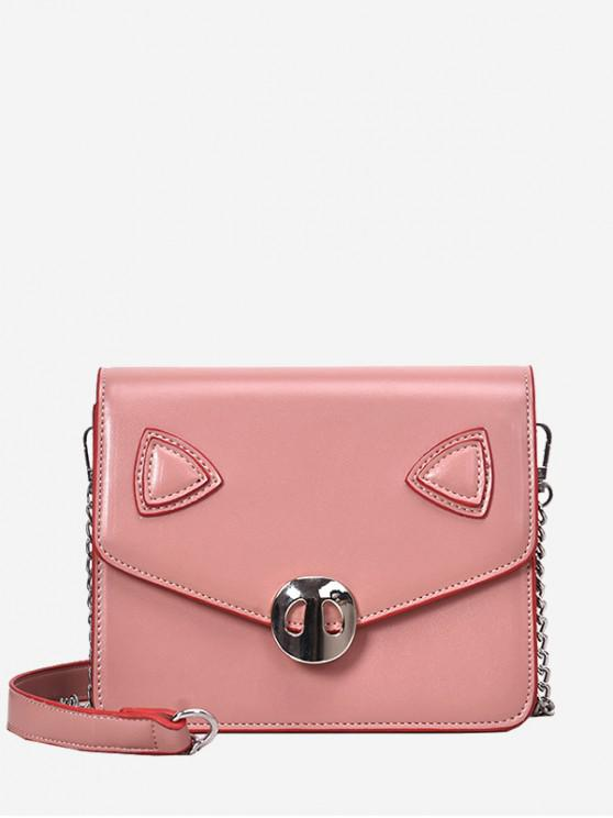 Pig Pattern Flap Crossbody Bag Black Light Pink White