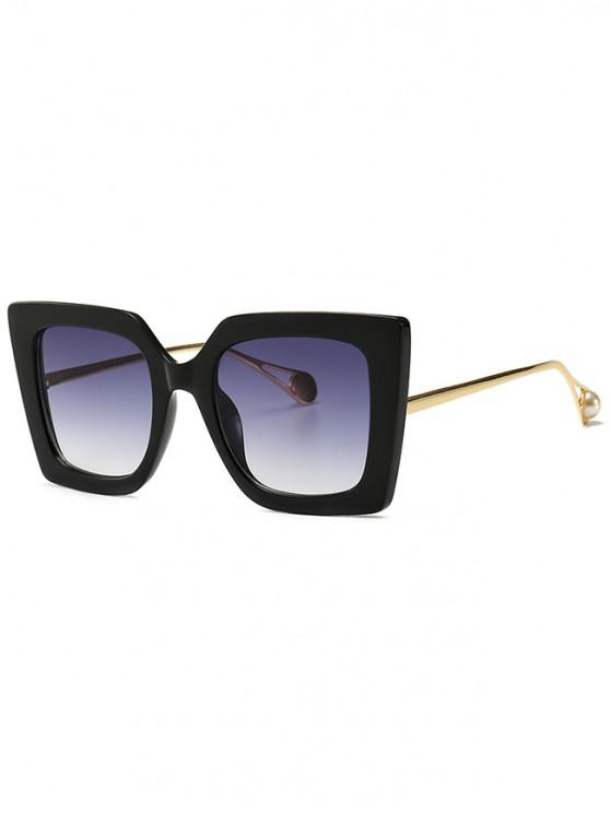 lady Faux Pearl Decor Square Sunglasses - BLACK