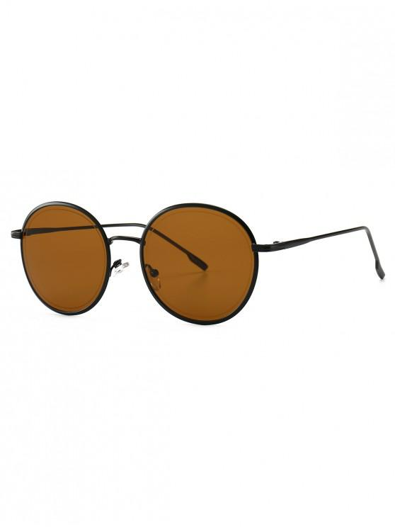 outfits Ins Style Metal Frame Sunglasses - BROWN