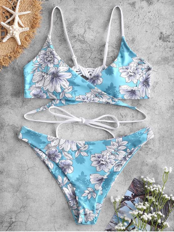 ZAFUL Makramee-Blumen-Wickel -Bikini- Set - Heller Aquamarin L