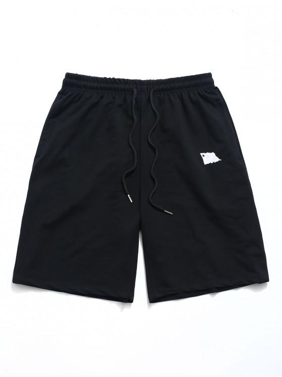 shop Chinese Letters Print Elastic Casual Shorts - BLACK S