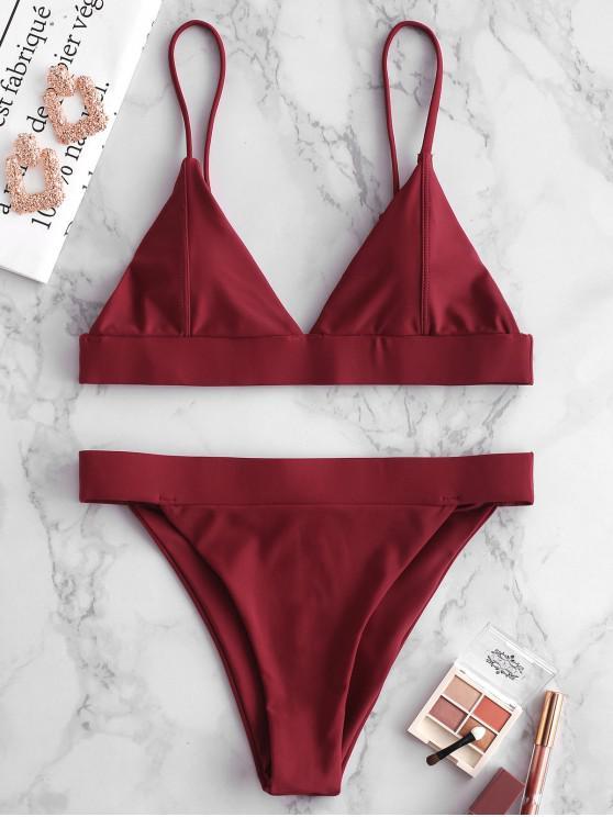 hot ZAFUL Band Bralette Bikini Set - RED WINE L