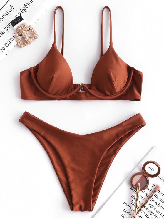 online ZAFUL Cami Underwire High Cut Bikini Set - CHESTNUT RED L