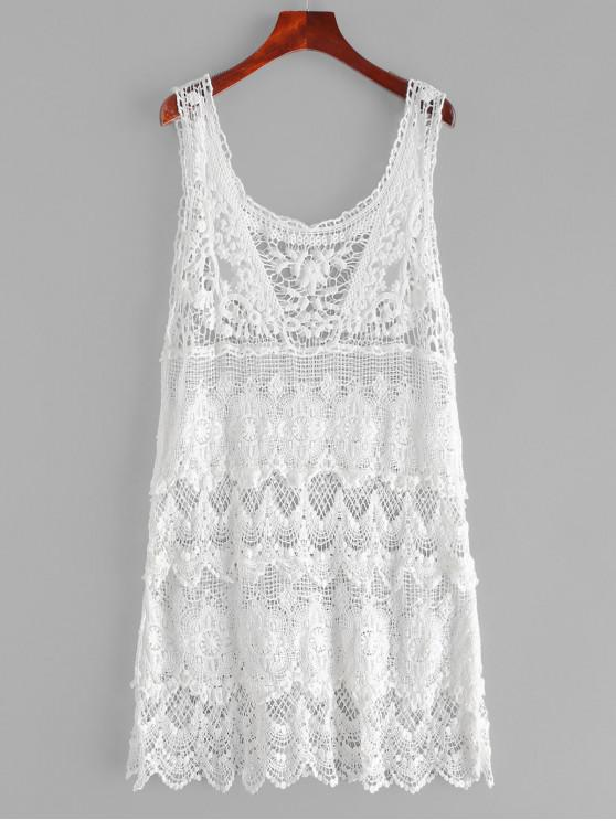 ladies Crochet Scalloped Cover Up Dress - WHITE ONE SIZE