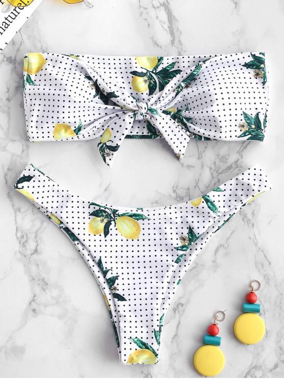outfit ZAFUL Knot Lemon Polka Dot Bikini Set - WHITE L