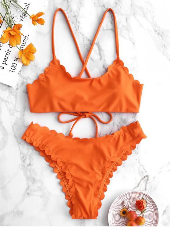sale ZAFUL Crisscross Scalloped Bikini Set - MANGO ORANGE M