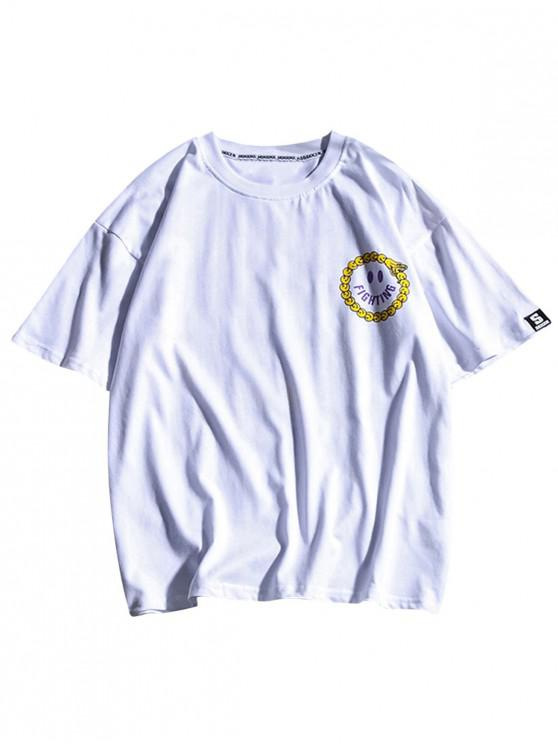 ladies Round Emoji Letters Print Short Sleeves T-shirt - WHITE L