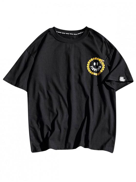 latest Round Emoji Letters Print Short Sleeves T-shirt - BLACK 2XL