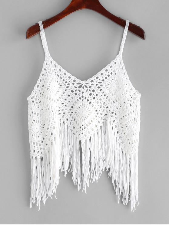 lady Crochet Fringed Top - WHITE ONE SIZE