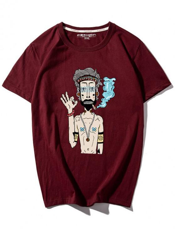 latest Cartoon Guy Print T-shirt - RED 3XL