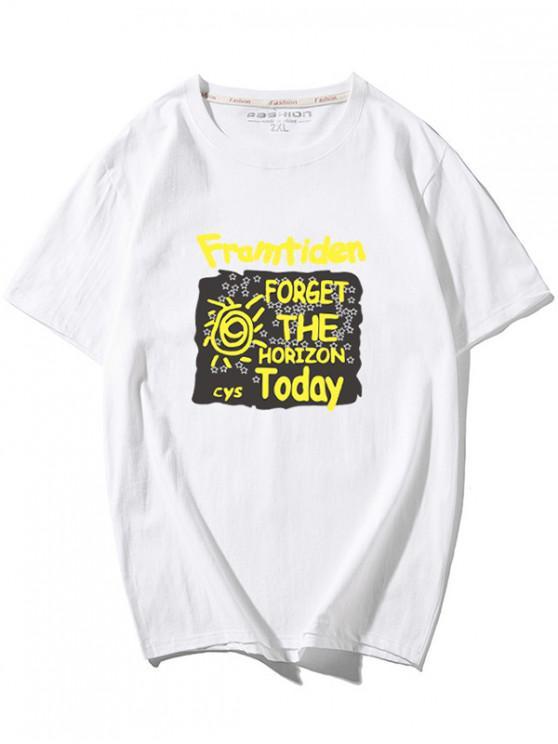 T-shirt Graphique Lettre Imprimée - Blanc M