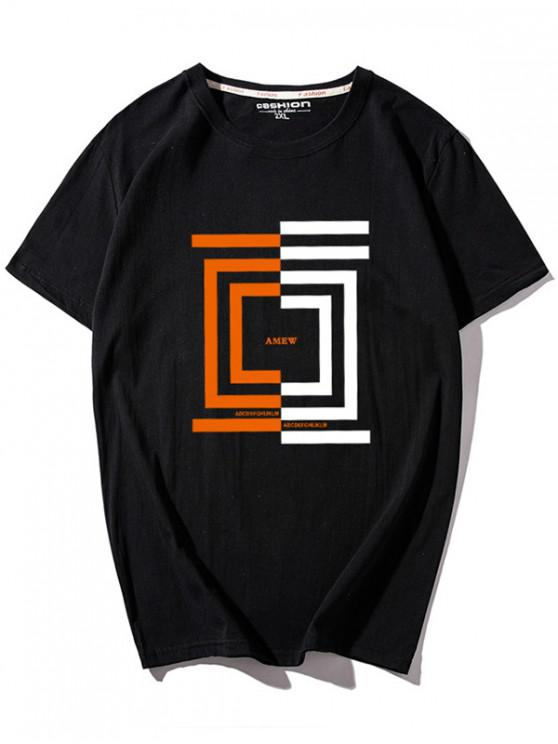online Letters and Geometric Print T-shirt - BLACK L