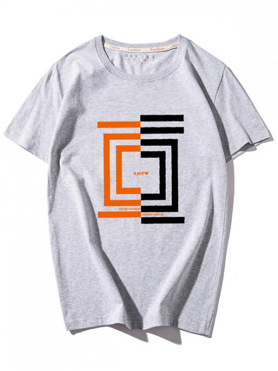 sale Letters and Geometric Print T-shirt - GRAY 3XL