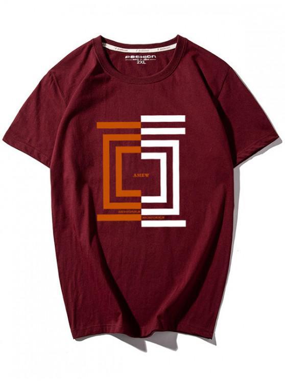 T-shirt Géométrique et Lettre Imprimés - Rouge 2XL