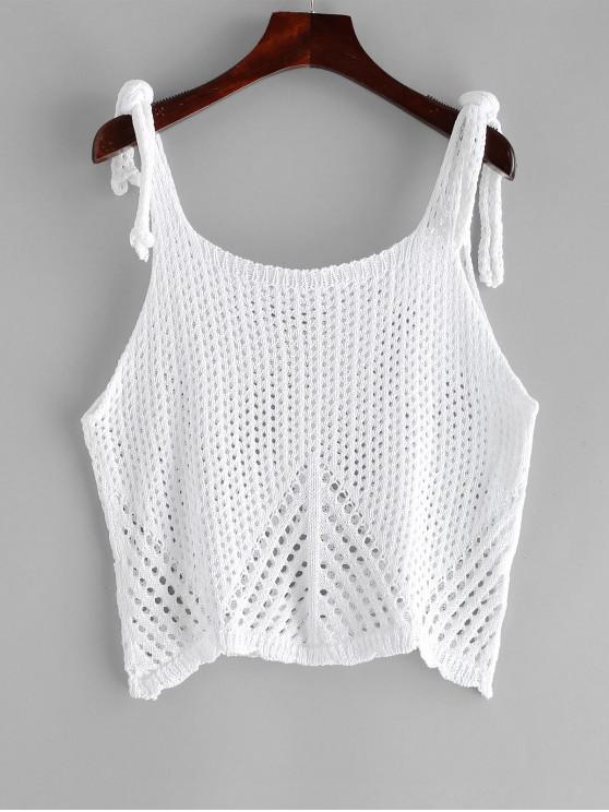 unique Knot Crochet Tank Top - WHITE ONE SIZE