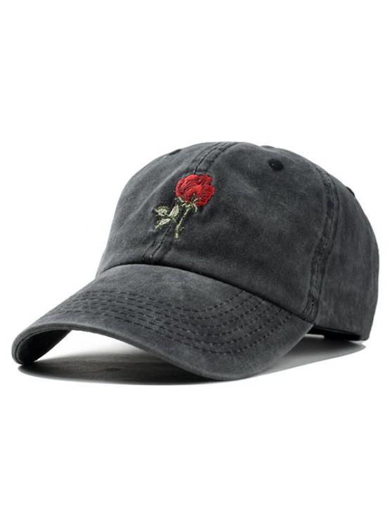 مطرزة روز قبعة بيسبول - أسود