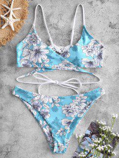 ZAFUL Macrame Floral Wrap Bikini Set - Luz Aguamarina S