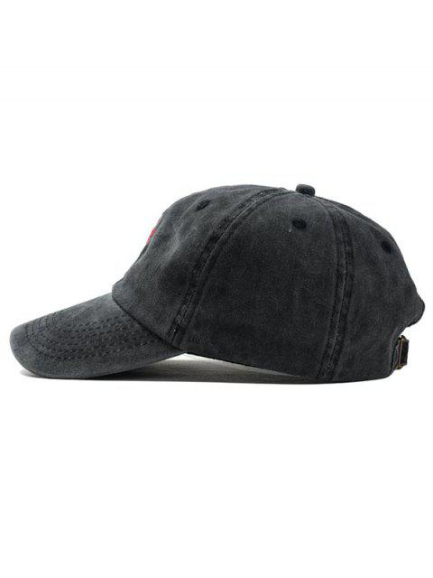 online Embroidered Rose Baseball Cap - BLACK  Mobile