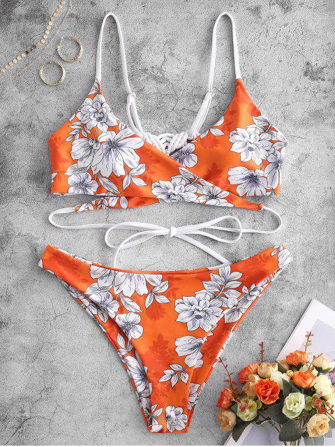 outfit ZAFUL Macrame Floral Wrap Bikini Set - MANGO ORANGE S Mobile