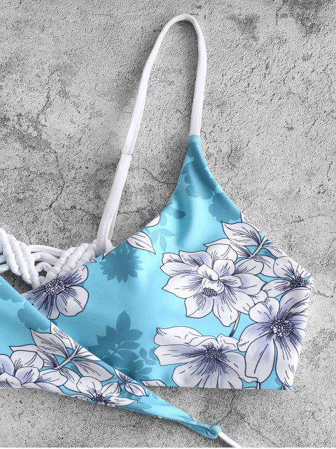 shops ZAFUL Macrame Floral Wrap Bikini Set - LIGHT AQUAMARINE S Mobile