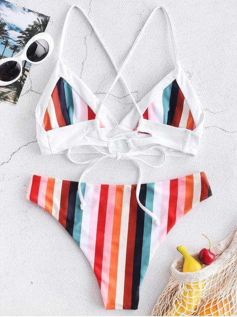 ZAFUL Buntes Gestreiftes Bikini-Bikini-Set - Multi-A S Mobile