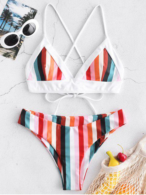 shop ZAFUL Colorful Striped Criss Cross Bikini Set - MULTI-A S Mobile