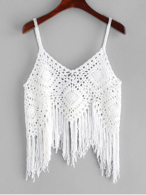 lady Crochet Fringed Top - WHITE ONE SIZE Mobile