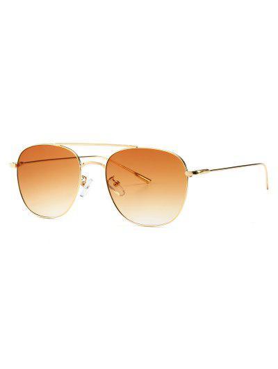 a028bf050a Retro Bar Embellished Metal Frame Sunglasses - Brown